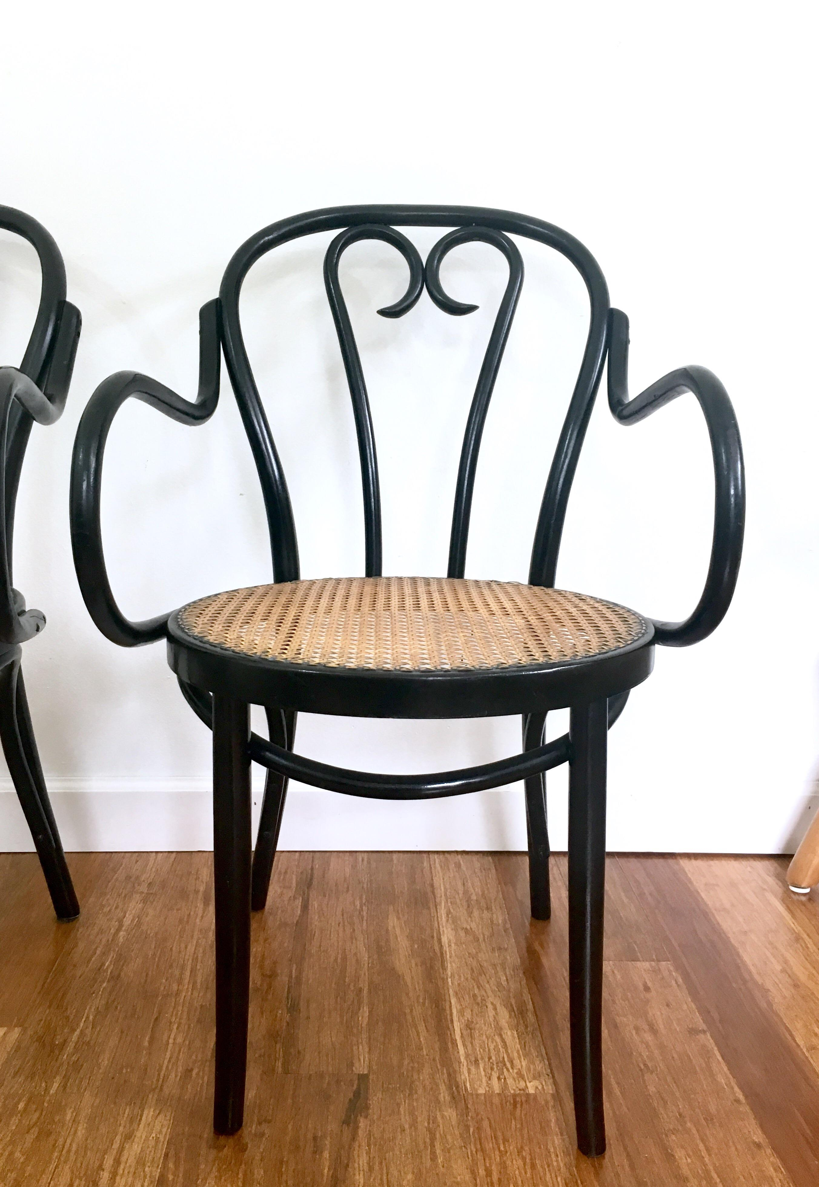Bentwood Black Amp Cane Chairs A Pair Chairish