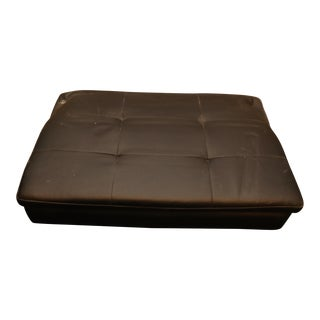Modern Black Tufted Leather Ottoman For Sale