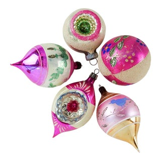 Vintage Hand Painted & Blown Glass Christmas Ornament - Set of 5 For Sale