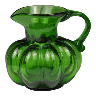 Vintage Emerald Green Glass Pitcher For Sale