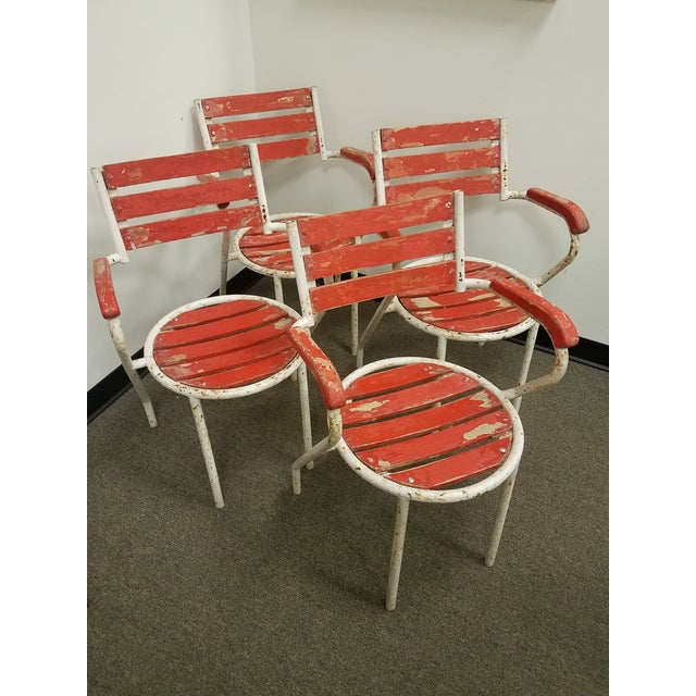 Red-Painted Garden Chairs - Set of 4 - Image 5 of 6