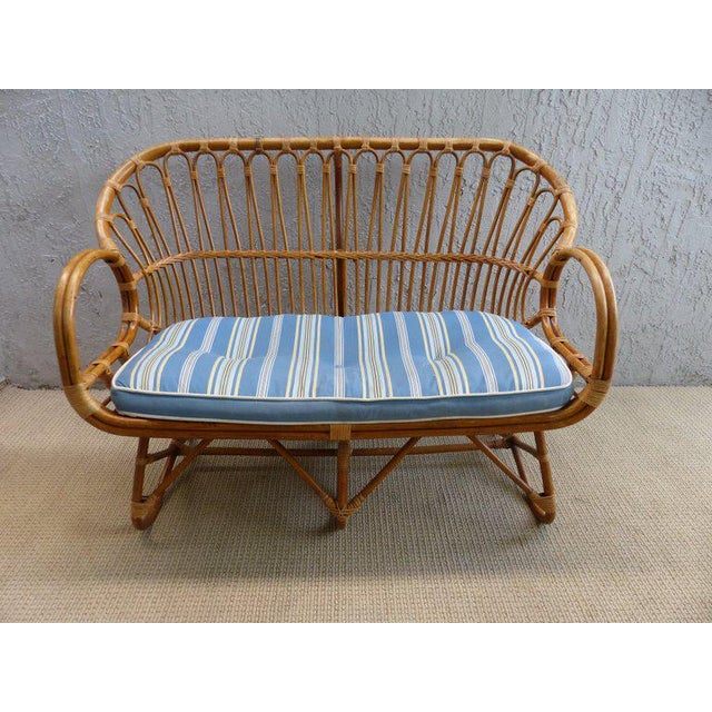 1970s Italian Bent Rattan Loveseat For Sale - Image 9 of 11