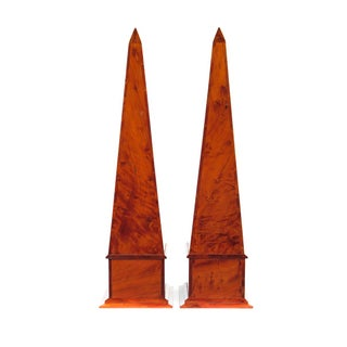 19th C. Large Burl Walnut Obelisks - A Pair For Sale