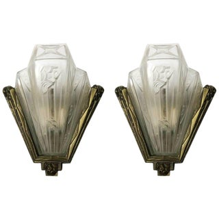 French Art Deco Geometric Sconces Signed by Gilles - A Pair For Sale