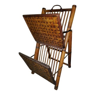 Vintage Mid-Century Bamboo Rattan Magazine Rack For Sale