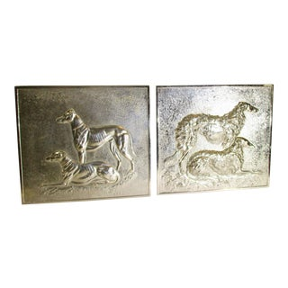 Cast Aluminum Wall Plaques of Grey Hound and Wolf Hound - a Pair For Sale