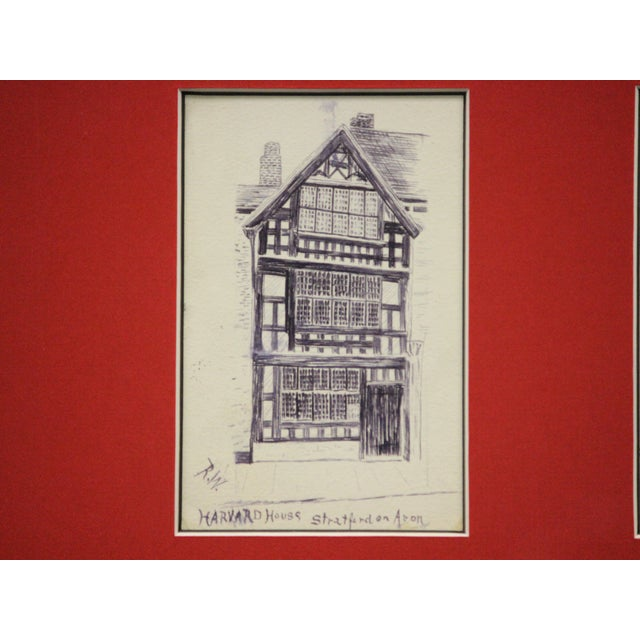 Traditional Five Postcard Pen & Ink Drawings, Circa 1910 For Sale - Image 3 of 10