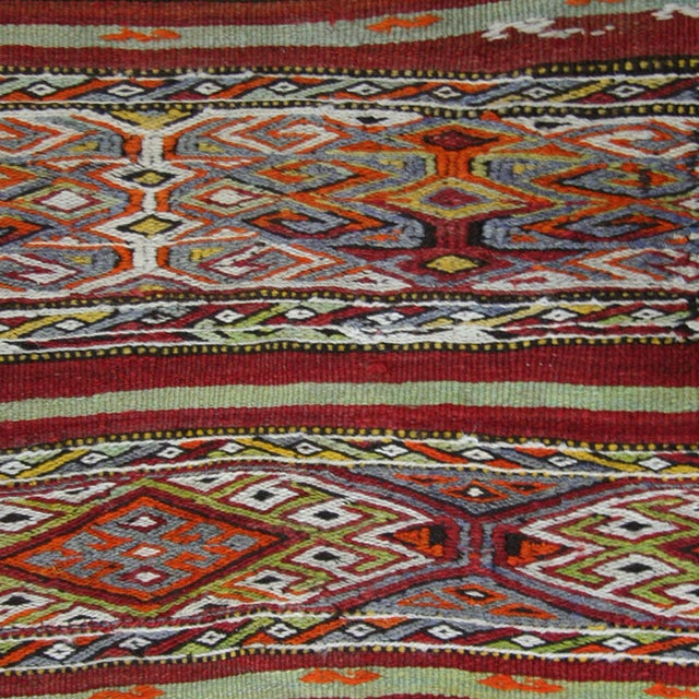 Vintage Sofreh Flatweave Turkish Kilim Rug This vintage kilim is from the Mut region of Turkey and is approximately 30 to...