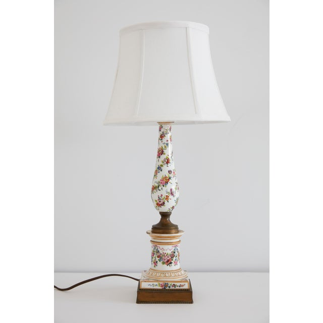 Dresden Porcelain Dresden Style Hand Painted Table Lamp For Sale - Image 4 of 4