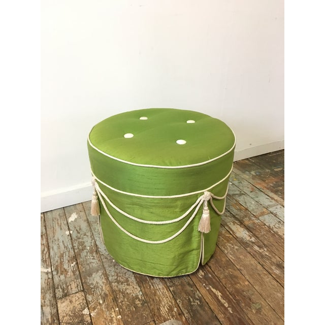 Green Hollywood Regency Green Silk Footstool For Sale - Image 8 of 8
