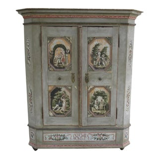 Early 19th Century European Painted Armoire Cabinet For Sale