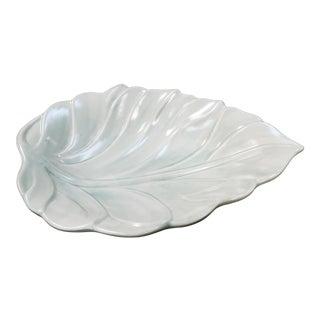 Vintage Royal Haeger Pottery Pastel Green Leaf Candy Dish For Sale