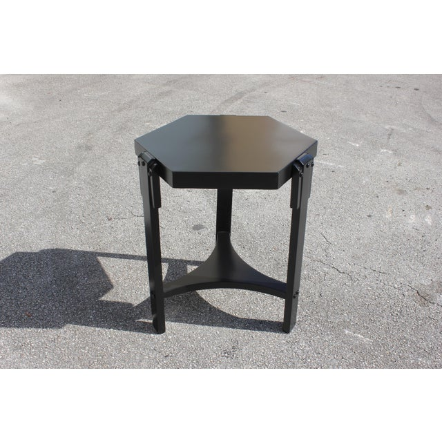 1940s French Art Deco Black Ebonized Coffee Table For Sale - Image 11 of 13