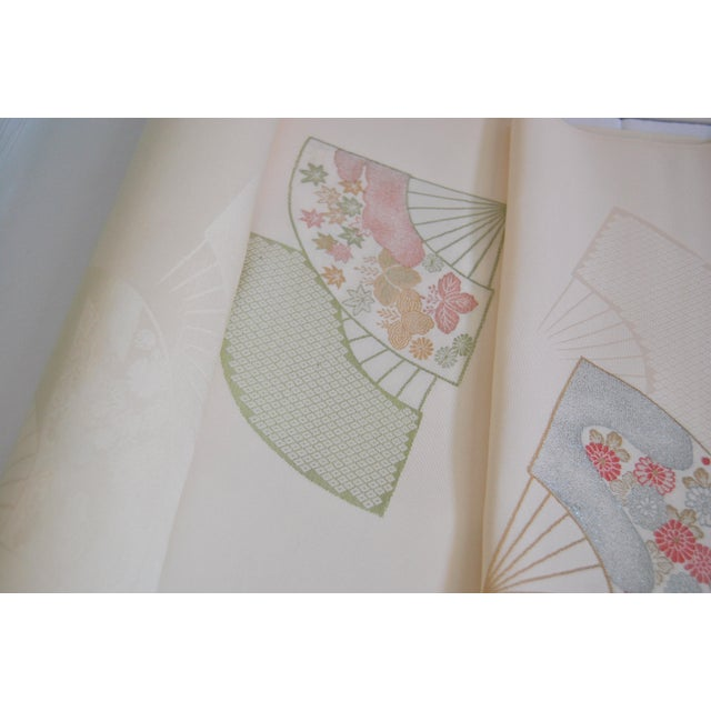 Japanese Embroidered Silk Fabric Bolt 6 Yards For Sale - Image 4 of 6