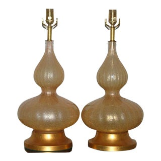 Vintage Murano Glass Eglomise Table Lamps in Gold For Sale