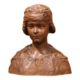 19th Century French Carved Patinated Terracotta Bust Signed J. J. Frere For Sale