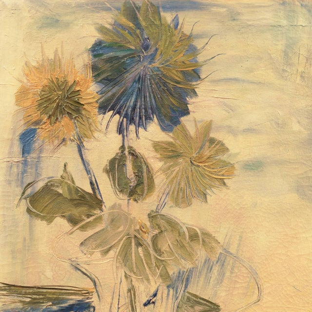 A substantial, mid-century oil showing sunflowers informally arranged in a glass vase. An accomplished tonalist work with...