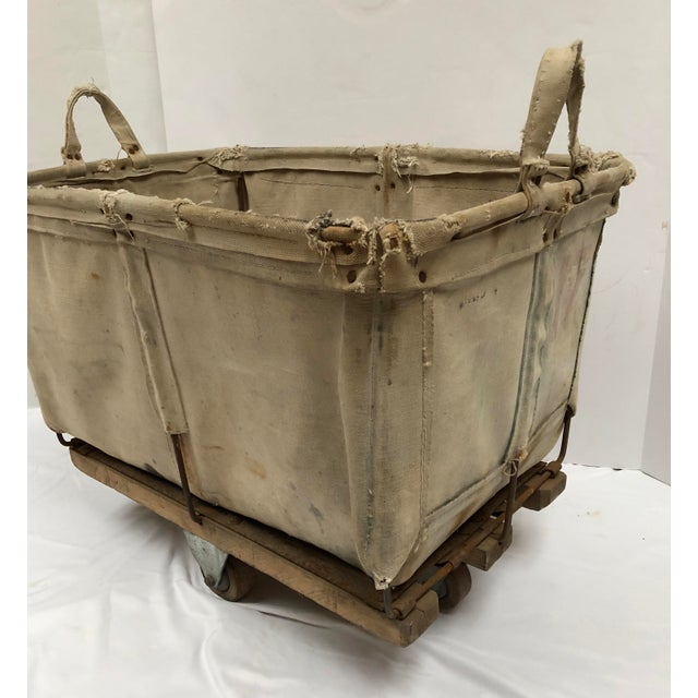 Vintage Industrial Canvas Laundry/Postal Cart For Sale In Dallas - Image 6 of 11