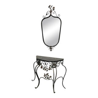 Early 19th C Hand Wrought Iron & Marble Console & Mirror Set For Sale