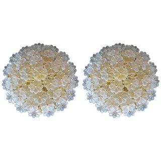 Pair of Glass Flower Flush Mounts For Sale