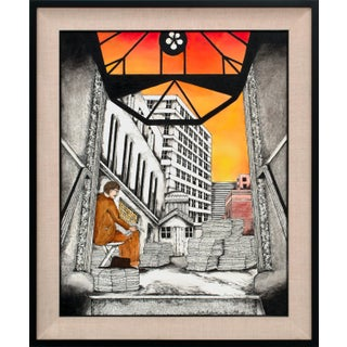 """1988 """"Early (Newspaper) Edition"""" Pop Art Style Mixed-Media Painting by Linnea Pergola, Framed For Sale"""