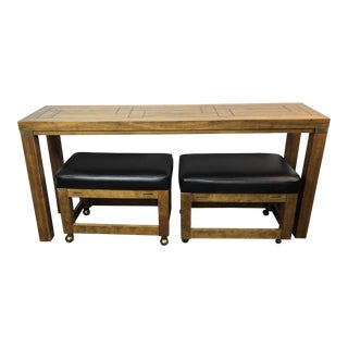 1960s Mid-Century Modern Drexel Heritage Woodbriar Console Sofa Table With Ottman Seats - 3 Pieces For Sale