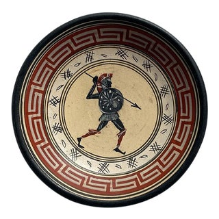 Greek Clay Grand Tour Hanging Plate With Warrior For Sale