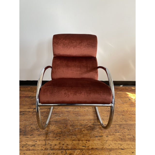Metal Mid Century Chrome Rocking Chair in Rust Velvet For Sale - Image 7 of 8