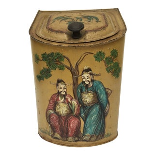 French Chinoserie Tole Tea Tin For Sale