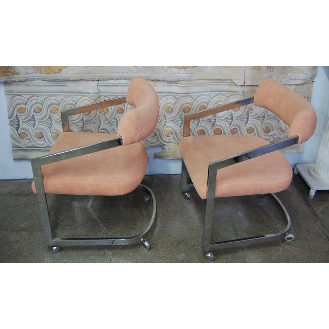 Peach Blush Dia Chrome Modernist Chairs - Pair - Image 8 of 11
