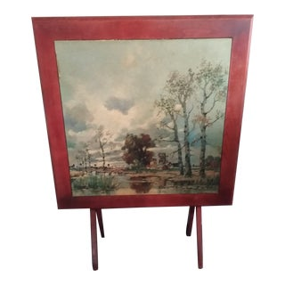 Morning in the Lowlands by Herbe Wood Tilt Top Table Folding Table For Sale