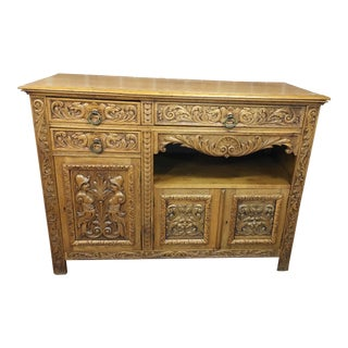 1920s Spanish Colonial Carved Oak Sideboard For Sale