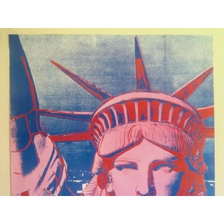 """Andy Warhol Rare 1986 Lithograph Print Paris Exhibition Poster """" 10 Statues of Liberty """" Preview"""