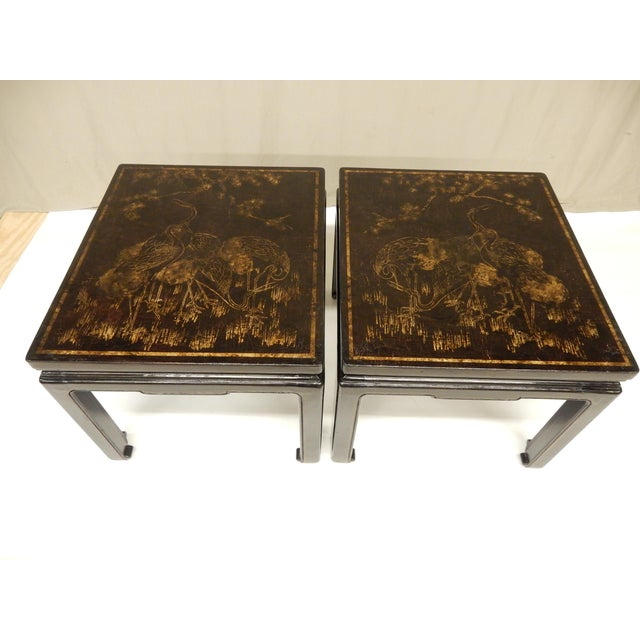 Wood 19th Century Chinoiserie Black Lacquered Coffee Tables - a Pair For Sale - Image 7 of 7