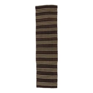 Vintage Brown & White Striped Kilim Runner - 3′1″ × 11′10″ For Sale