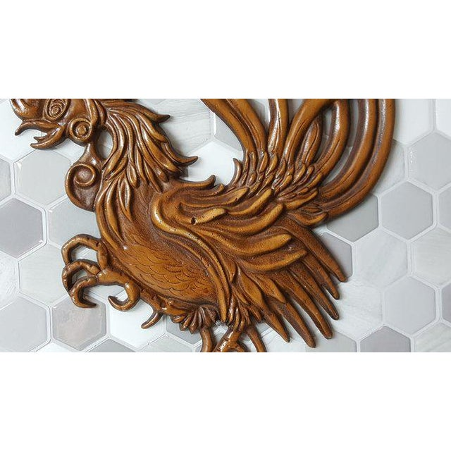 Metal 1960s Vintage Fighting Roosters Wall Decor- A Pair For Sale - Image 7 of 11