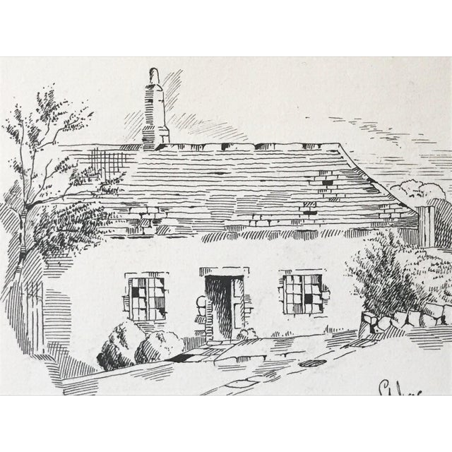 "Antique English Pen & Ink Cottage Drawing ""St Ives Cornwall"" 1907 For Sale - Image 4 of 6"