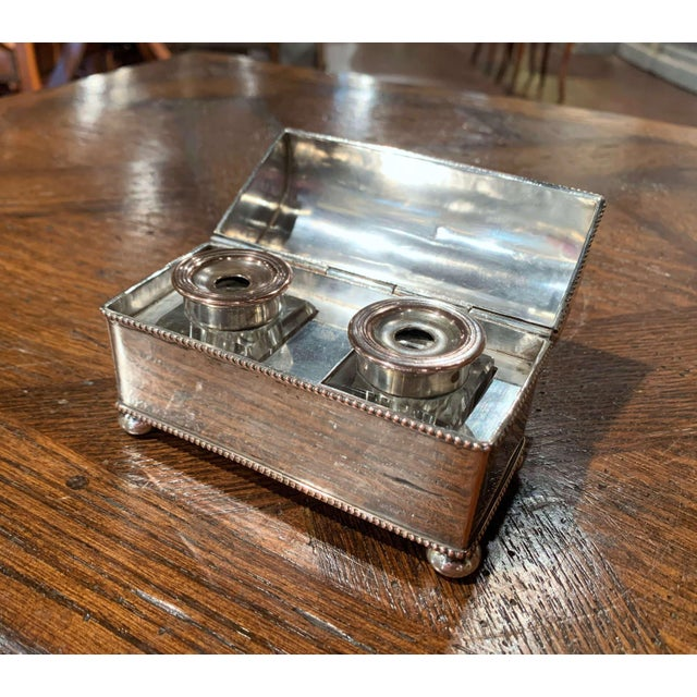 French 19th Century French Silver Plated Over Copper Casket Inkwell For Sale - Image 3 of 12