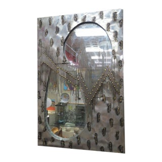 Vintage 70's Brutalist Torch Cut Steel Mirror Wall Sculpture For Sale
