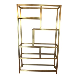 1970's Mid Century Modern Milo Baughman Brass and Glass Etagere For Sale