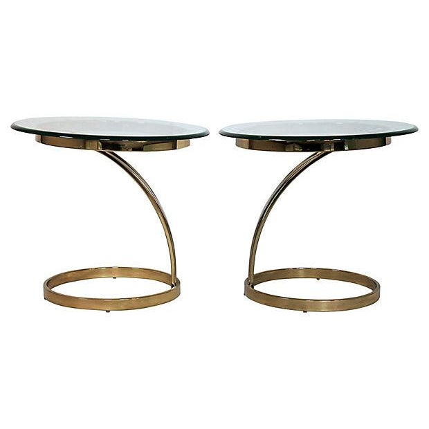 Brass & Glass Side Tables - A Pair - Image 2 of 8