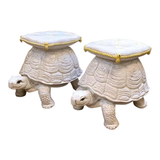 Mid Century Pair, Italian Turtle Garden Seats For Sale