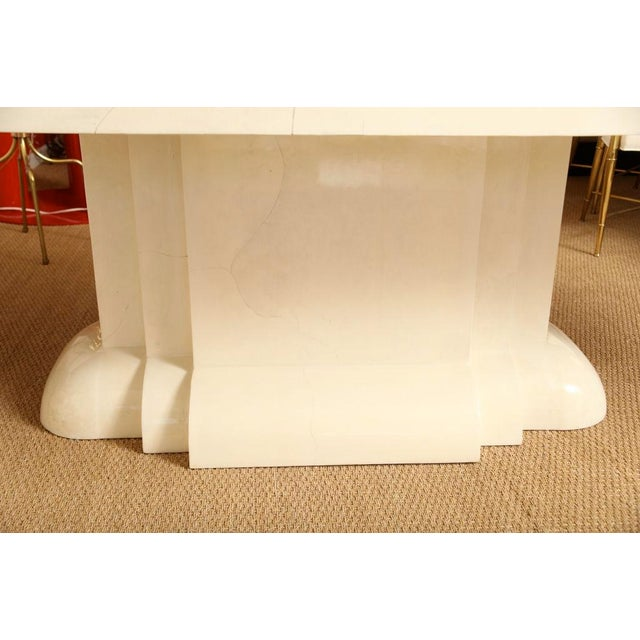 1980s Karl Springer Style Monumental & Stately Lacquered Goat Skin Dining Table For Sale - Image 5 of 7