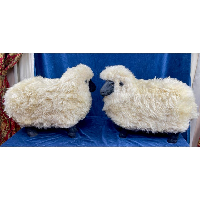 Mid-Century Modern Late 20th Century Lalanne Style Sheep Footstools - a Pair For Sale - Image 3 of 11