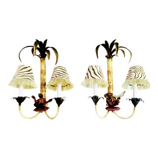 Vintage Rare Pair of Tole Chelsea House Style Monkey Metal Palm Tree Zebra Shades Double Arm Wall Sconce Lights For Sale