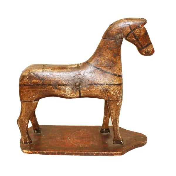 Wood 19th Century Folk Art Hand Carved and Painted Horse Statue For Sale - Image 7 of 7