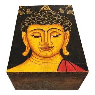 Painted Wood Buddha Box