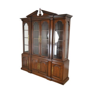 Harden Solid Cherry Chippendale Style Breakfront China Cabinet For Sale