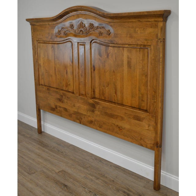 1990s French Country Style Quality High Back Pine King Headboard For Sale - Image 5 of 13