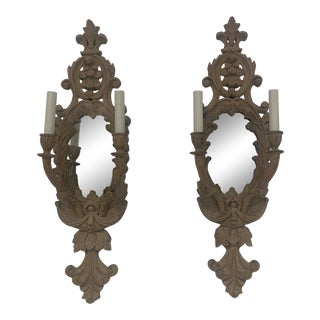 Antique Hand Carved Mirrored Sconces - a Pair For Sale